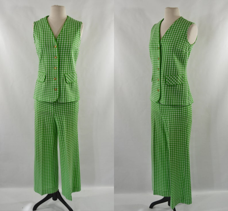 1970s Green and White Checkered Vest and Slacks Set 2 Piece image 0