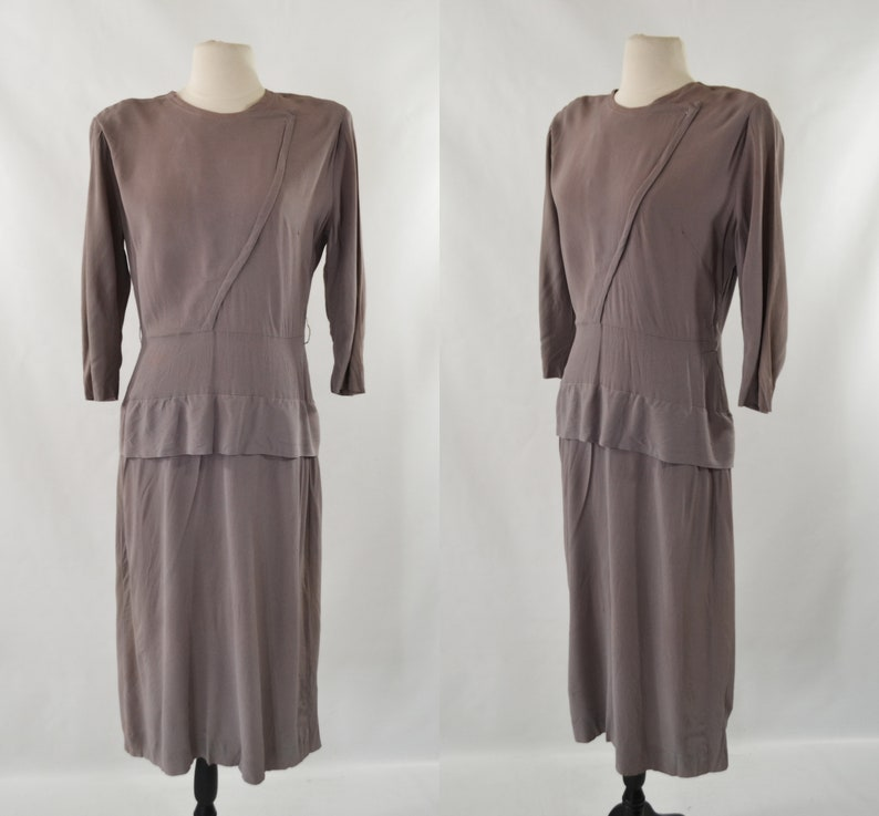 1940s Purple Gray Fitted Crepe Dress image 0