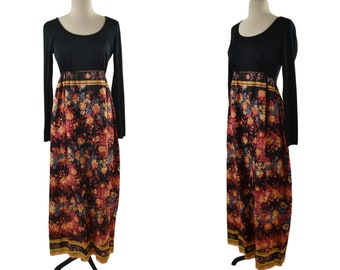 1970s Black and Floral Print Long Sleeve Maxi Dress