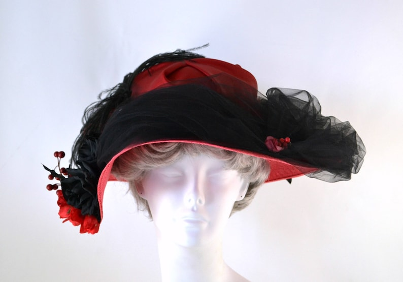 Vintage Red and Black Statement Derby Straw Hat by La Belle image 0