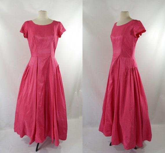 1960s/1970s Pink Liquid Satin Formal Gown/Dress, B