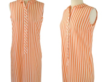 1960s Orange and White Vertical Stripe Shift Dress by Country Miss