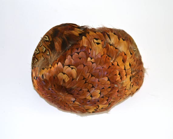 1950s Natural Colored Feathered Fascinator Hat, H… - image 2