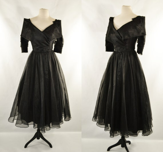 1980s does 1950s Black Cocktail Dress by Jordan