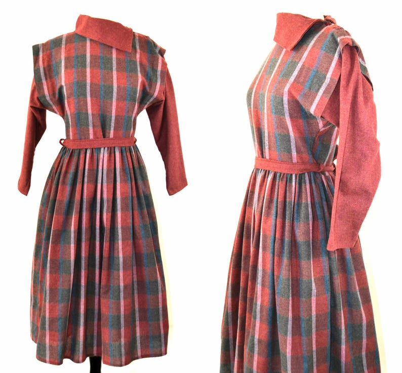 1970s/1980s Maroon Green and Blue Plaid Dress Dolman Sleeves image 0