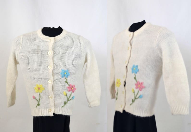 1960s Girls White Cardigan Sweater Pink Blue and Yellow image 0