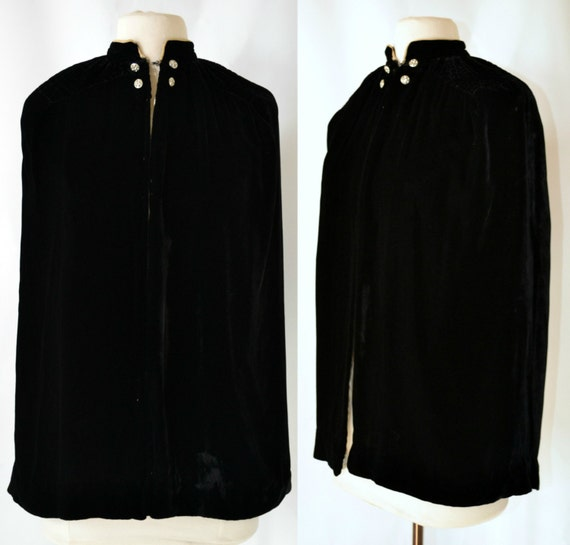 1940s/1950s Short Black Velvet Cape, Opera, Formal