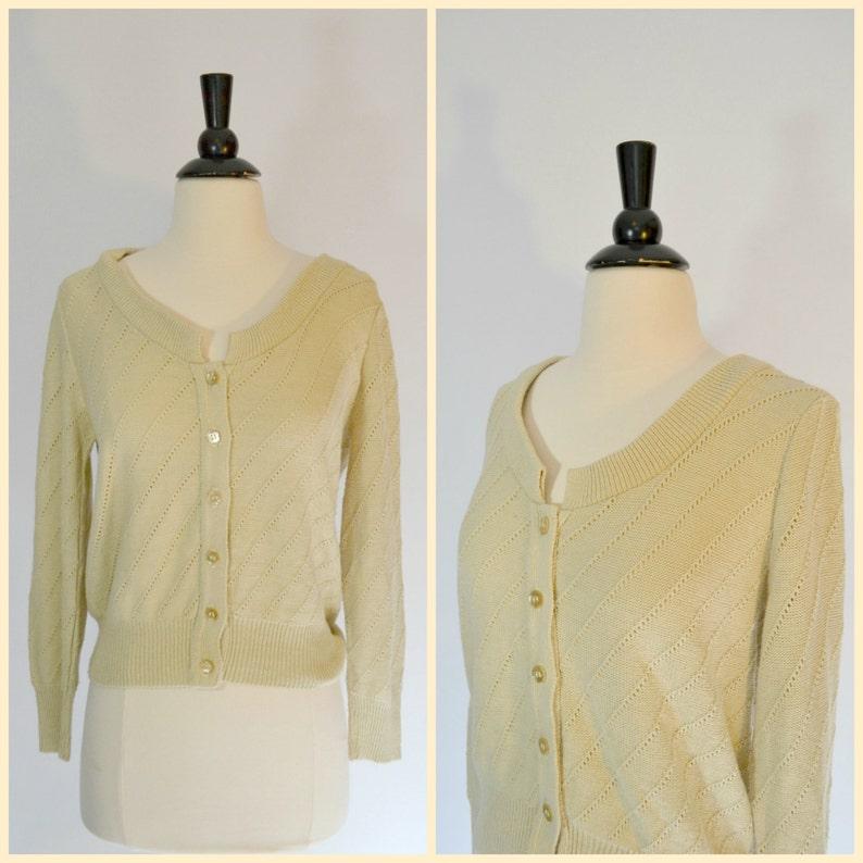1960s Basic Cream Cardigan Sweater by Sears Jr Bazaar XSmall image 0