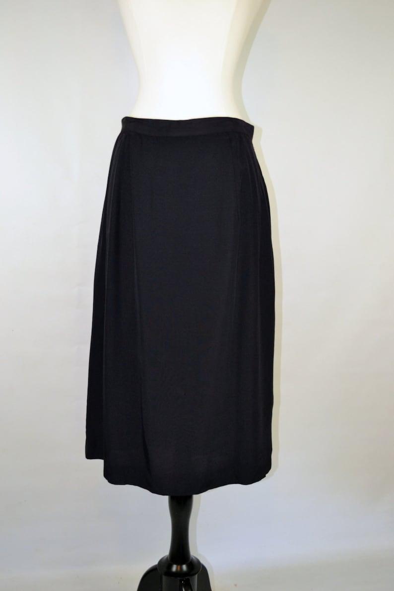 1960s Black Mid-knee Length Slip Skirt Petticoat image 0