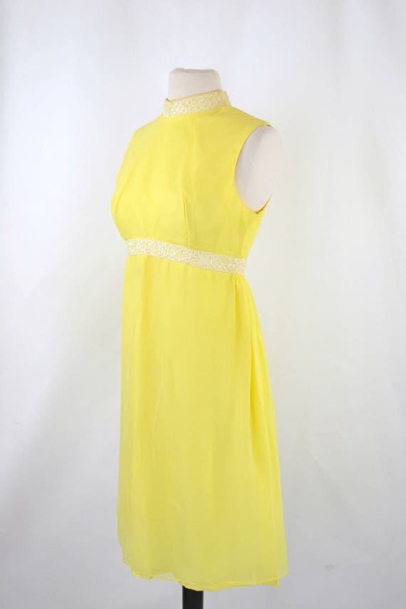 1960s Bright Yellow Sleeveless Chiffon Midi Lengt… - image 3