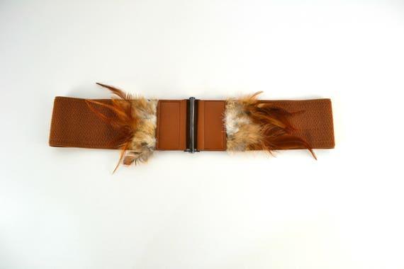 Vintage Wide Brown Elastic Stretch Waspie Belt wit