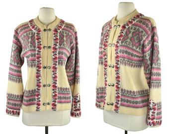 Vintage Cream, Pink and Gray New Wool Cardigan Sweater by Nordstrikk, Knit Cardigan, Metal Ornamented Clasps, Nordic
