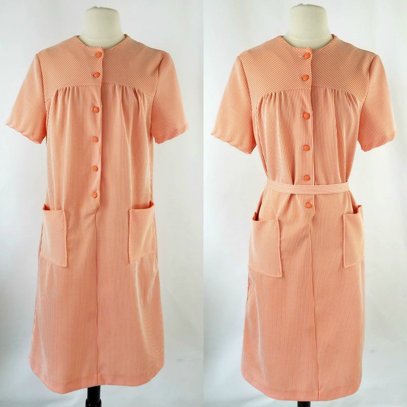 1970s Orange Cream and White Seersucker House Shift/Sack Dress image 0