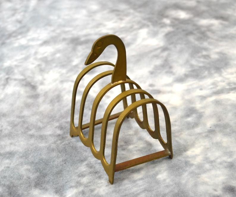 Vintage Brass Swan Toast Holder/ Mail Holder/Swan Letter image 0