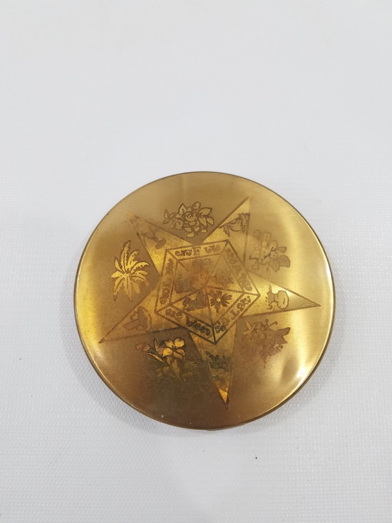 1960s Gold Tone Makeup Powder Compact FATAL Star and Floral image 0