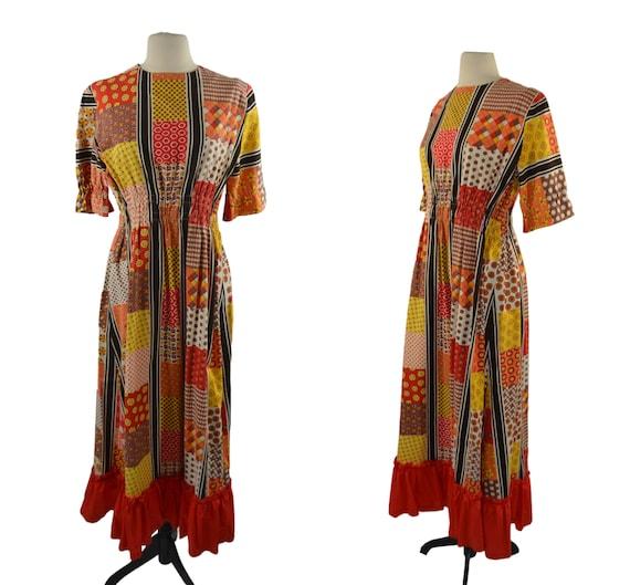 1970s Faux Patchwork Cotton Dress