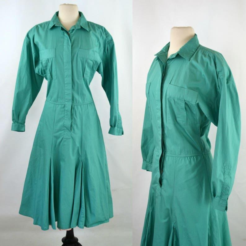1980s Blue Green Teal Long Sleeve Shirtwaist Dress by Avon image 0