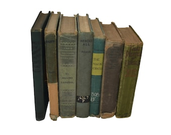 Vintage Green/Blue Book Decor, Stack of 7 Books, Green/Blue Book Bundle