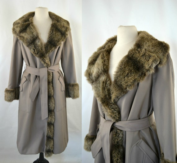 1970s Faux Fur Lined Taupe Trench Coat, Retro Khak