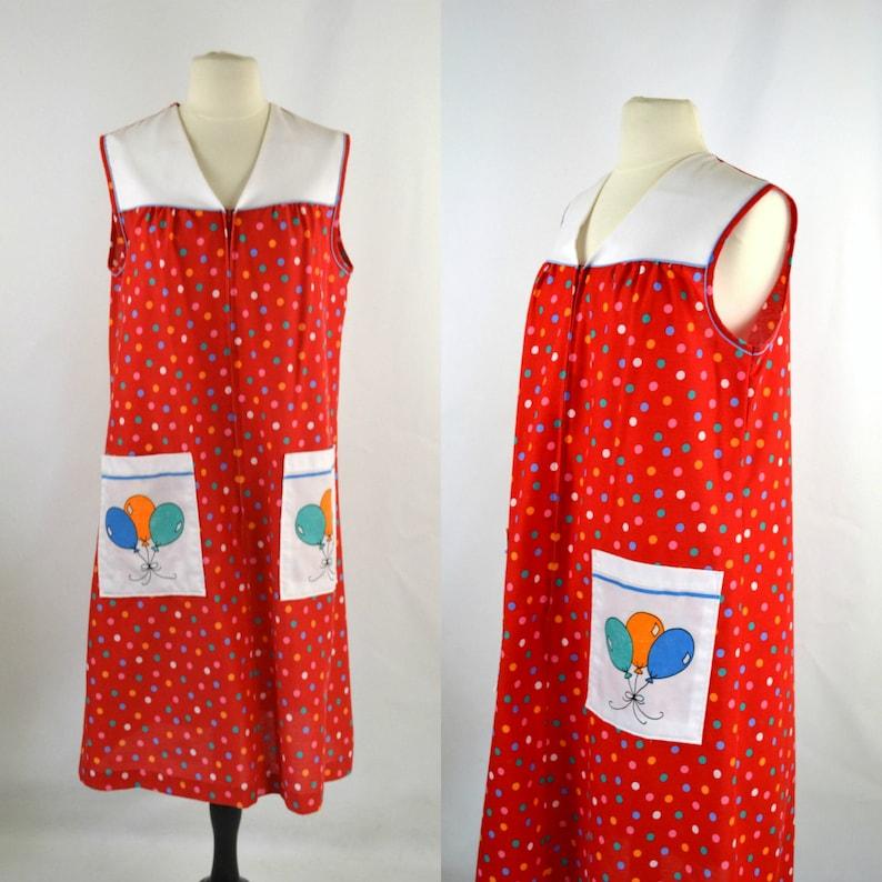 1970s Red Polka Dot House Dress by Komar Balloon Pockets image 0