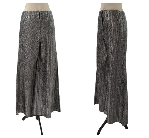 1970s Black and Silver Lurex Metallic Wide Leg Pa… - image 1