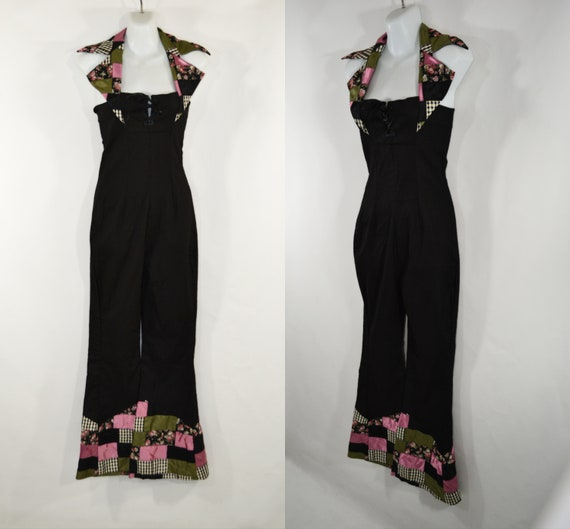 Vintage Black Halter Top Jumpsuit with Quilted Cuf