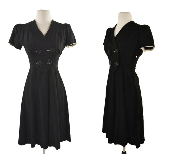 1940s/1950s Black Double Breasted Short Sleeve Dre