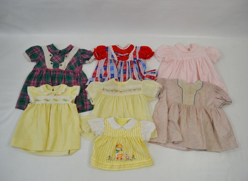 Vintage Lot of 7 Infant/Toddler Girl Dresses image 0