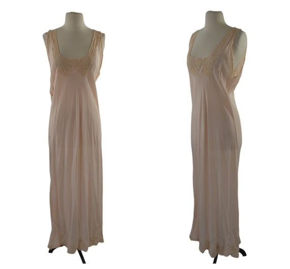 1940s Pale Peach Silk Nightgown