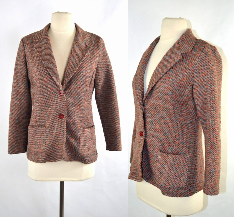 1970s Maroon Blue Cream Green and Pink Blazer by Heads and image 0