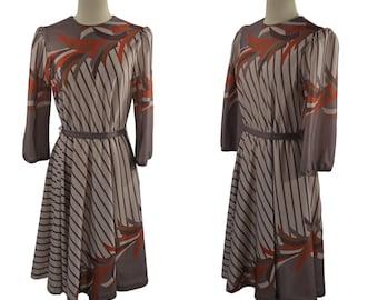 1970s Toffee Brown Stripe Dress by Cora's Closet