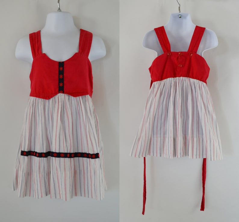 1970s Toddler Red and White Sleeveless Adjustable Strap image 0