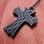 Hand-carved stone pendant - Celtic Cross