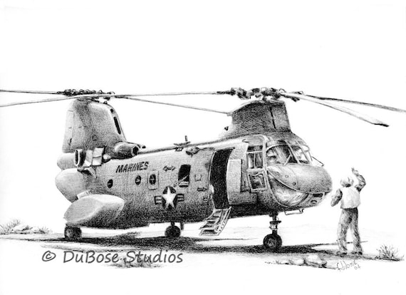 Marine Ch 46 Helicopter Drawing Etsy