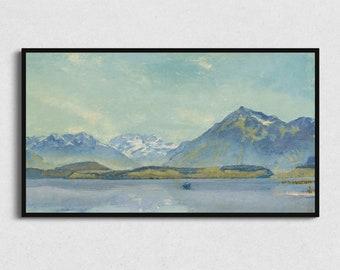 Samsung Frame TV Art   Mountain Painting Digital Download, Blue Landscape Oil, Artwork for The Frame, Downloadable Vintage Art, TV Cover Art