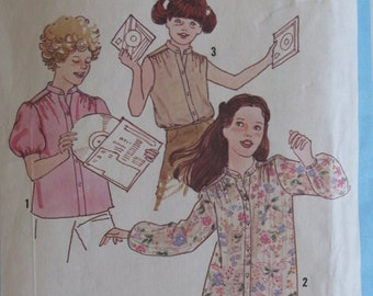 Vintage 1978 Girls Ruffle Blouse - Stand Up Collar Pattern - Simplicity 8669 - Size 7