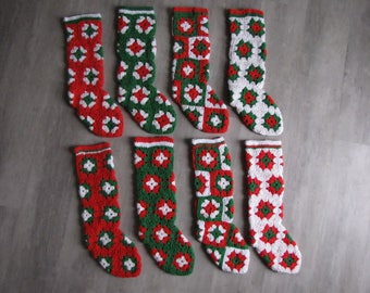 Vintage Crocheted Christmas Stocking - green, red and white - 8 available
