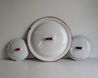 Vintage White Enamel Lid Collection - set of three with red trim