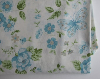 RESERVED Vintage Full Flat Sheet (81 inches X 104 inches) - Pale Blues, Greens and Beige Flowers and Butterflies