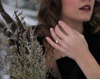 Oval Moissanite Engagement Ring, 14 Karat Gold Engagement Ring, Forever One Moissanite Ring, Leaf Ring, Diamond Alternative Ring, Twig Ring.