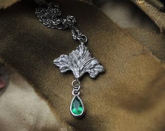 Natural Emerald Necklace, 14 Karat White Gold Genuine Green Emerald Fleur De Lis Pendant, May Birthstone Necklace, Handmade Emerald Pendant.