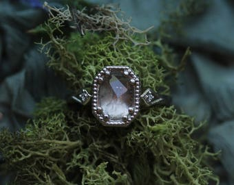 Antique Engagement Ring, Payment Plan, Custom Solitaire Engagement Ring, Rose Cut Morganite Ring, Fairytale Wedding, Blue Sapphire Ring.