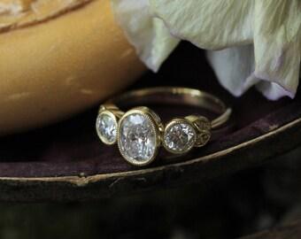 Oval Moissanite Engagement Ring, Diamond Alternative Cluster Ring, Antique Moissanite Engagement Ring, 18k Gold Ring, Art Deco Engagement.
