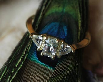 Antique White Sapphire Engagement Ring, Custom 18 Karat Yellow Gold Diamond Alternative Engagement Ring, Three Stone Sapphire Cluster Ring.