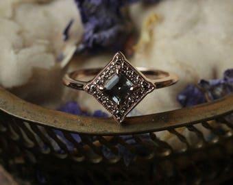 Peach Sapphire Engagement Ring, 14 Karat Rose Gold Champagne Diamond Halo Ring, Princess Cut Sapphire Ring, Antique Lace Engagement Ring.