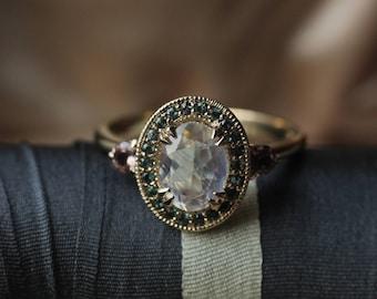 Antique Halo Engagement Ring Deposit, Custom Engagement Ring, Layaway, Diamond Alternative Engagement Ring, Oval Rainbow Moonstone Ring.