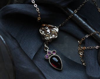 14 Karat Yellow Gold Garnet Skull Pendant, Genuine Ruby Yellow Gold Necklace, Antique Memento Mori Necklace, Crowned Heart Ruby Necklace.