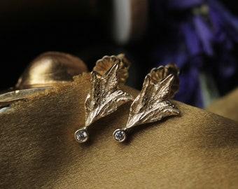 14k Gold Diamond Post Earrings, Handcarved Sage Leaf Diamond Stud Earrings, Rose Gold Post Earrings, Small Diamond Earrings, Flower Earrings