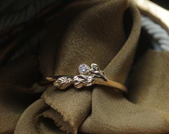 Small Diamond Stacking Ring, 14k Gold Diamond Layering Ring, Thin Leaf Ring, Twig Ring, Fairytale Engagement Ring, Handmade Wedding Band.