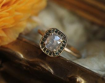 White Diamond Engagement Ring, 14 Karat Yellow Gold Cushion Cut Diamond Engagement Ring, Teal Garnet Halo Rose Cut Diamond Engagement Ring.